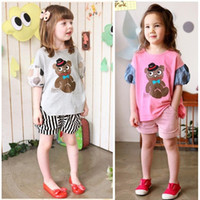 little girls clothing - summer girls clothing sets cute Little Bear cartoon two piece kids leisure clothes short Hubble bubble sleeve children Outfits ab184