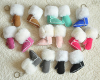 Real leather and fur australia steels - Genuine Sheepskin Australia Women s Classic snow Boots Key ring Keychain pendant charms colors for choose
