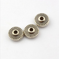 bead disc - Hot Antique silver Zinc Alloy Round Disc Dotted Beads Spacer X8X3mm DIY Jewelry