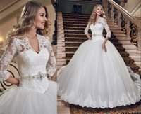 balls spanish - Spanish Muslim Wedding Dresses Ball Gown V Neck Vintage Lace Long Sleeves Saudi Arabic Wedding Gowns Plus Size Princess Bridal Gowns