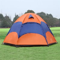 Wholesale 5 Person Family Camping Tents Double Layer Waterproof Anti UV Large Tent Leisure Camping Outdoor Tent