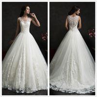 Wholesale 2016 Amelia Sposa Wedding Dresses Full LACE Bridal Dresses Vintage Hollow Back Floor Length Garden Custom Made Wedding Gowns