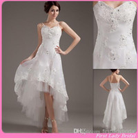 A-Line chinese crystal beads - 2015 Sexy Beach High Low Wedding Gowns Spaghetti Straps A Line Appliques Lace Country Style Bridal Dresses Chinese Bride Dress Designer