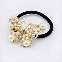 Wholesale SW2014 New Arrive Fashion Alloy Butterfly Sweet White Pearl Girls Woman Hair Band hair accessories JWD01