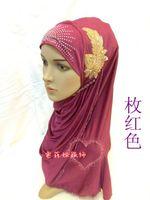 Wholesale Muslim headscarf hijab scarf ice hand beaded silk flower leaf convenient hijab hat