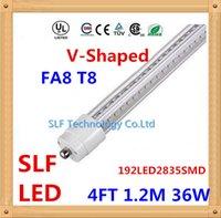 Cheap 25pcs lot V-Shaped FA8 T8 Led Tube Light 4FT 1.2M 1200mm 192LED2835SMD 36W 3400lm Cooler Door Led Fluorescent lights Double Glow lamp
