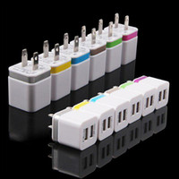 Wholesale Metal Dual USB wall US plug A AC Power Adapter Wall Charger Plug port for samsung galaxy note LG tablet ipad