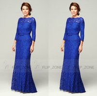 modern dresses - Modern Royal Blue Lace Plus Size Mother Of the Bride Dresses Sheer Bateau Neck Long Sleeves Wedding Guest Mother of Groom Gowns