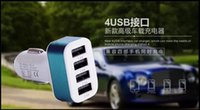 Wholesale 4 USB Car Charger High Quality V A USB Port Car Cigarette Lighter Socket Car Charger Adapter For Most Phones