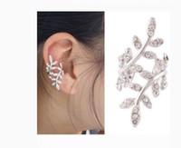 Wholesale New Fashion Women s Punk Retro Earring Crystal Leaf Ear Cuff Warp Clip Ear Stud for women