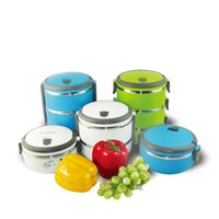 Wholesale silicone Stacking Lunch Box two layers stainless steel lunch box and Stainless Steel Interior