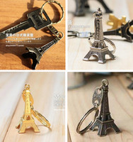 advertising keychains - couple lovers key ring advertising gift keychain Alloy Retro Eiffel Tower key chain tower French france souvenir paris keyring keyfob cut