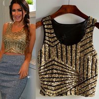 Cheap 2016 New Sexy Women's Sequin Tank Top Sling Camisole Cami Vest T-Shirt Slim Crop top Pink Gold Black Silver @y