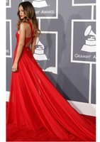 Wholesale Grammy Awards Vogue Evening Dresses A Line High Neck Pleated Criss Cross Back Chapel Trailing Cheap
