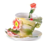 beetle cup - ml European Porcelain Bone China The Beetles And Flower Coffee Cup Set Creative Tea Cup Set Franc Painting Set