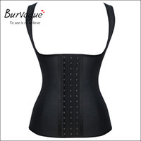 Wholesale Burvogue Women s Black Latex Corset Vest With Straps Deportiva Sport Rubber Waist Trainer Steel Bone Waist Training Corset Top Body Shaper