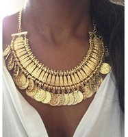 asian gold coins - LatestTurkish Jewelry for women fashion vintage Boho Coin chunky choker Necklaces antique Silver and gold statement necklace Indian jewelry