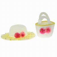 bag lady hats - Lovely Children Girl Straw Sun Summer Beach Hats Handbag Sunhat Set Lady Stringy Brim Yellow Caps Bag Set EUY4