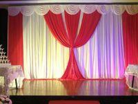 Wholesale Romantic White and Fuchsia Ice Silk Wedding drape Wedding decoration Backdrop M for Wedding Decoration Stage Backdrops Curtain