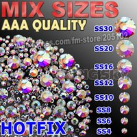 Wholesale Mix Sizes AAA Clear AB HOTFIX Rhinestone SS4 SS6 SS8 SS10 SS12 SS16 SS20 SS30 glass strass glitter crystal DIY stone