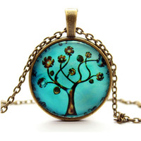 photo glass - 8 styles Tree of Life Necklace Pendant Copper Charm Chain Gifts for Her Mum Girls Photo Glass Cabochon Dome Necklace Pendant FTC N01