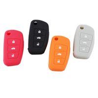 achat en gros de audi a4 clé bouton-3 boutons clés de voiture en silicone de couverture de silicone Sac clé pour Flip Foldig Audi Key Case A3 A4 A5 A6 A8 Q5 A8 TT S6 Livraison gratuite