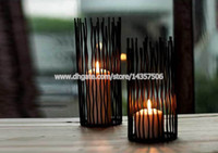 Wholesale 10 inch Black Modern Image Wrought Iron Wedding Candle Holder Romantic European Centerpieces Home Ornaments Medium Size