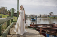 Wholesale Limor Rosen Jewel plus size wedding dresses Appliques lace sheath dress sweep train bridal gowns Illusion berta bridal