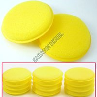 Wholesale Selling Very Useful Soft Yellow Polish Round Car Cleaning Washing Sponges Sponge Wax set Drop Shipping