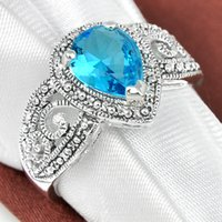 antique topaz rings - Luckyshine Gentle Fire Antique Drop Fire Sky Blue Topaz Gems Sterling Silver Rings Weddiing Family Friend Holiday Gift Rings
