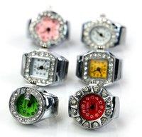 Wholesale New Style Fashion Ladys Girl rhinestone Round Elastic Quartz Finger Ring Watches Women Trendy Creative Gifts