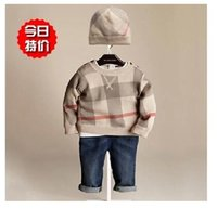 bur - bur cute kid children s boy GIRL outfits sets Plaid sweater and HAT each set top quality drop shipping