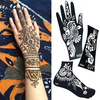 Hand/Wrist henna tattoo - 2015 NEW Temporary tatoo stencils mehndi henna tattoo stencil black Henna tattoo for body paint Template painting kit