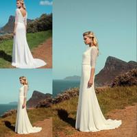 plus size wedding dresses with sleeves - Beautiful Wedding Dresses With Sleeve A Line Full Lace Vintage Plus Size Court Train V Back Long Bridal Gowns Vestido De Noiva Modest