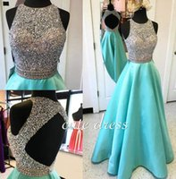 Wholesale Shinning Beaded Prom Dressess Long Formal Dresses Evening Wear Jewel Neck Open Backless A Line Custom Made Special Occasion Wear