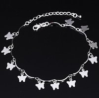 Wholesale Cute little animal butterfly elegant Silver Anklet Europe and the United States fashion jewelry YP1031