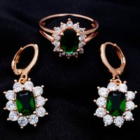 Wholesale For Ladies Green Oval Cubic Zircon Rose Gold Plated Drop Earrings Rings Hot Wedding Jewelry Sets H2155 H2503