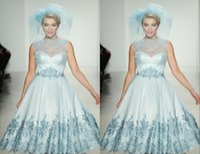 light blue wedding dress - 2015 Spring New Design Short Wedding Dresses Frozen Queen Style Light Sky Blue Satin Bridal Gowns With Appliques Sheer Crew Garden Gowns WZ