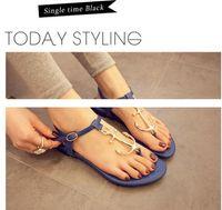 anchor ties - Authentic Women Summer Shoes Pirates Anchor T Belt Sandals Clip Comfortable Flat Rubber Soles Flat Sandals Size