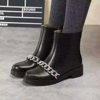 alta boots - 2016 New mujeres moda cadenas de tobillo botas de montar de cuero genuino alta calidad designer de la marca de lujo damas botas Martin Boots
