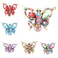 Wholesale New Arrival Exaggerated fashion pure and fresh and colorful crystal butterfly adjustable ring rings for women