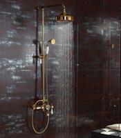 Wholesale Rainfall shower and bath faucet mixer tap Bath Bathroom Gold Rain Hand Shower Tub Spout Set