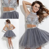Cheap Silver Grey Beaded Short Tulle Two Piece Prom Dress with Rhinestones High Neck Crystal Beaded Ball Gown Mini Short Party Dresses Teen Dress