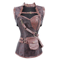 latex clothing - Latex Gothic Clothing Sexy Brown Steel Bone Corset Steampunk Waist Training Corsets And BustiersTop Women Corpetes E Espartilhos