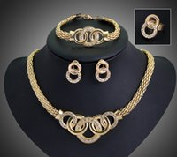 austrian crystal jewelry - Women Jewelry Sets K Gold Plated Hot Sale Design Austrian Crystal Necklace Bracelet Ring Earrings Sets Wedding Set DB