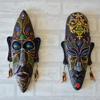 bar room accessories - African Mask Wall Hangings Medium Creative Personalized Wall Mural Home Bar Entrance Decorative Accessories Pendant Resin