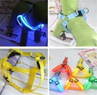 batteries harness - 6 Colors Battery Operated LED Flashing Dog Harness Collar Belt Pet Cat Dog Tether Safety Light Collars Pet supplies Flashing LED Leashes