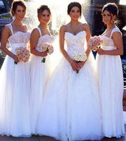 Cheap New Designer 2015 Customized Sweetheart White Chiffon Long Bridesmaid Dresses Floral Lace Bodice Romantic A-line Wedding Party Dresses