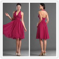 Wholesale 2016 Backless Knee Length Cocktail Dresses Halter Ruffles Chiffon Short Party Cocktail Dress Custom Made Bridesmaid Dress Top Selling