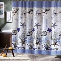 Wholesale Polyester terylene blue sea life seashell blue sea waterproof shower curtain thicken shower curtan bathroom curtain cm cm